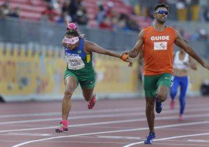 11/08/2015 - Canadá, Toronto - Jogos Parapan-Americanos - Estádio de Atletismo CIBC, 100m T11-Terezinha Guilhermina e Guilherme Soares  ©Marcelo Regua/MPIX/CPB