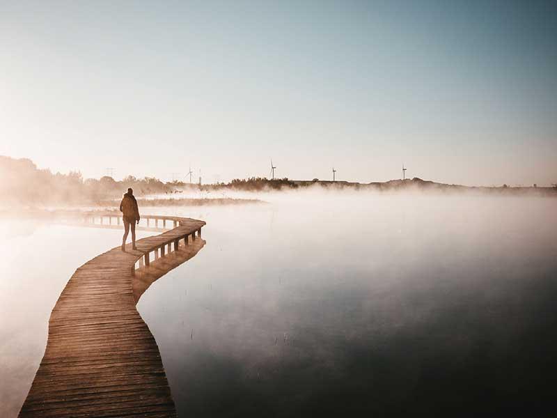 A imagem está um sépia en nela, vemos uma pessoa caminha só por sobre uma longa, sinuosa e estreita ponte de madeira que corta as águas paradas de um lago. Em meio a uma densa névoa, a pessoa se dirige às dunas de areia das margens,e moinhos de vento,  em um horizonte bem distante.