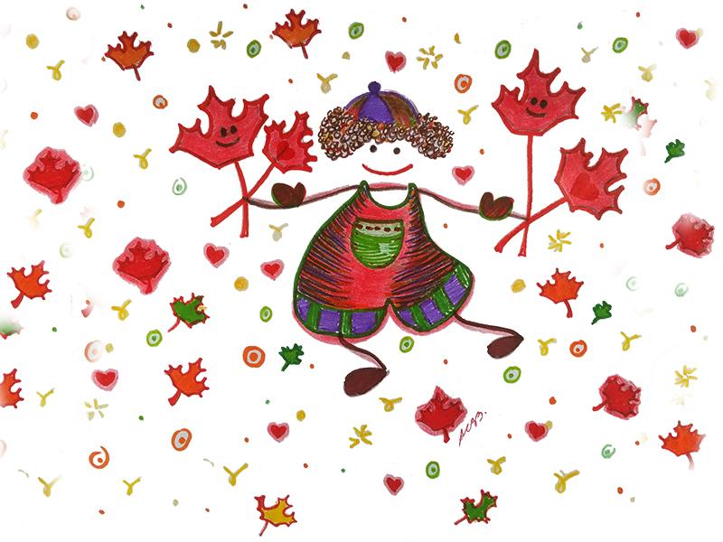 Desenho de traços ingênuos, de uma criança segurando folhas vermelhas d áravore bordo (mapple tree), representando as folhinhas de amor do coração infantil
