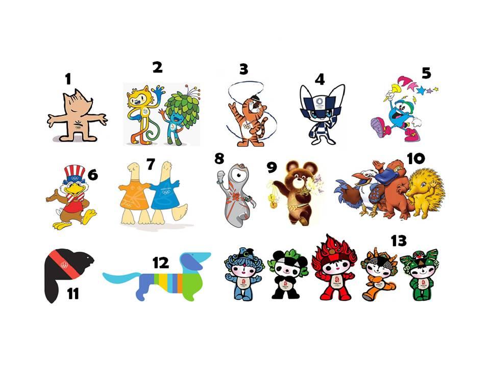 a imgaem traz o desnho de todas as mascotes olímpicas, Desde Waldi, de 1972, até Miraitowa, de 2021
